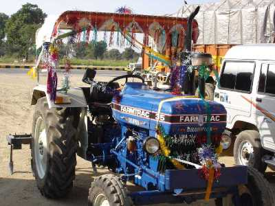 Tractor decorated for Diwali.  Photo by Tom Walker.