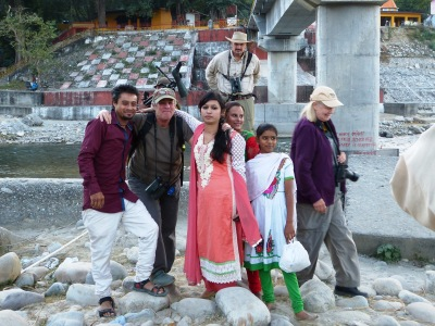 An Indian family poses for photographs with members of our group.