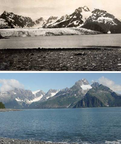 Northwestern Glacier in 1909 and 2005