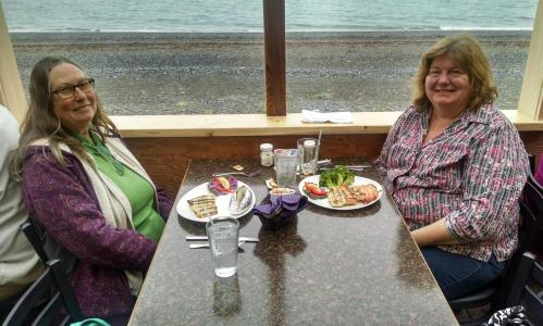 Shelley and Diane enjoying a seafood dinner