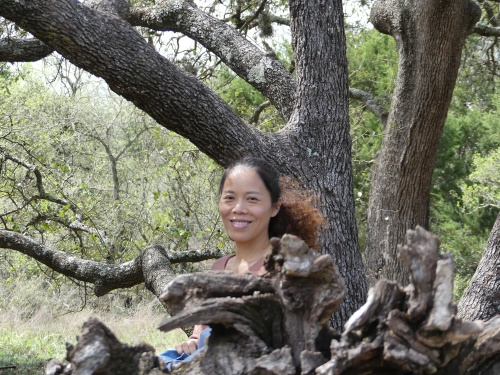 Trissie enjoying the arboretum at the Lady Bird Johnson Wildflower Center.