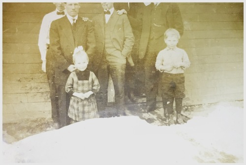 Arrival at the Swift Current train station in 1912. The little girl in the green dress is my mother and the boy is her brother.