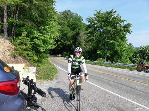 Coming into a rest stop on the Cherohala Skyway.