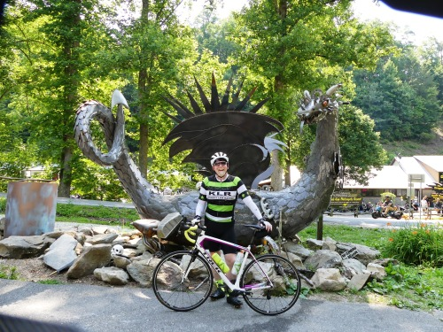 David stopping to pose with the dragon during the ride on Saturday.
