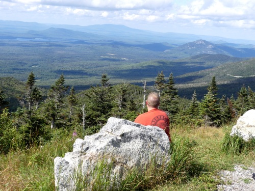 David enjoys the view from a a stop on Whiteface Mountain