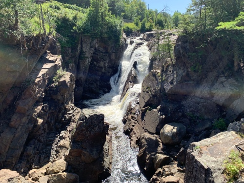 The beautiful waterfall at High Falls Gorge